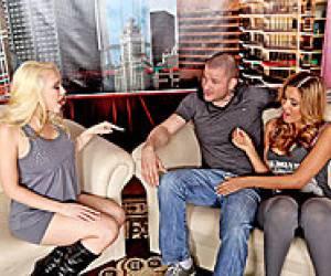 Trio in de klas met Tori Black en Charley Chase